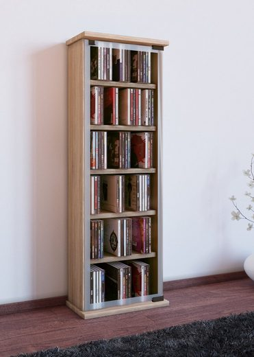 VCM CD-Regal »Holz CD DVD Stand Regal Classic mit Glastür«