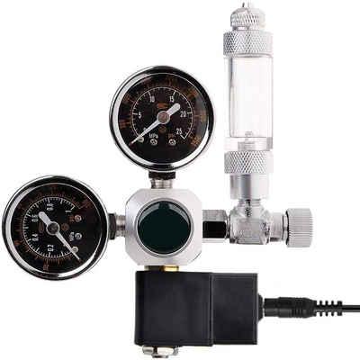 kueatily Druckregler »CO2-Druckregler, Nachtabsperrung W21.8 Schnittstelle mit Magnetventil, 2 Manometern und Blasenzähler für Aquariumsystem«