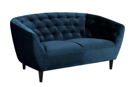 ebuy24 Sofa »Rita Sofa 2 Personen marineblau, Gummibaum schwarz«