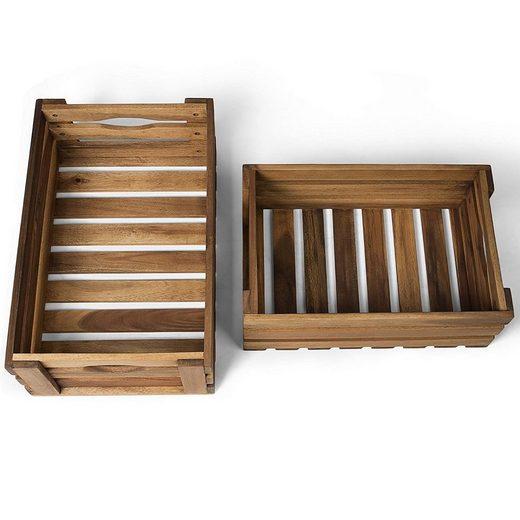 Vanage Holzkiste für Obst und Gemüse | 2er Set | natur