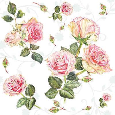 Ambiente Papierserviette »Romantische Rosen«, (5 St), 33 cm x 33 cm