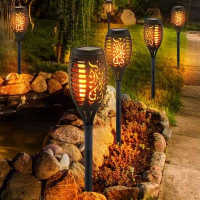 etc-shop LED Außen-Stehlampe, Solarlampen für Außen Gartendeko Fackeln Gartenfackel, LED Feuereffekt IP44 Erdspieß, Höhe 59,5 cm, 6er Set
