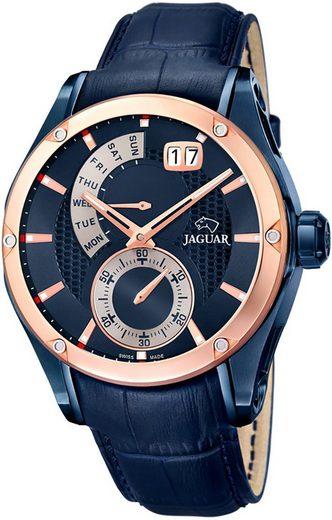 Jaguar Chronograph »UJ815/A Jaguar Herren Uhr Fashion J815/A Leder«, (Analoguhr), Herren Armbanduhr rund, Lederarmband blau, Fashion