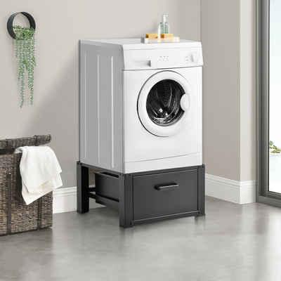 en.casa Unterschrank »Comfrotixx« Waschmaschinen-Untergestell Trockner Sockel mit Schublade Schwarz