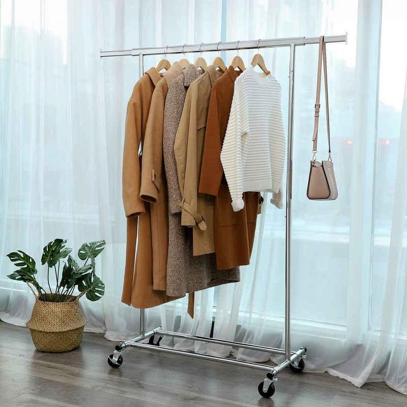 SONGMICS Kleiderständer »HSR13S«, Schwerlast Kleiderständer aus Metall, silbern, bis 90kg belastbar
