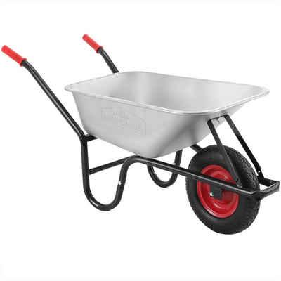 Gardebruk Schubkarre, 100 Liter bis 250kg Luftreifen mit Stahlfelge verzinkt Garten Bauschubkarre Gartenschubkarre