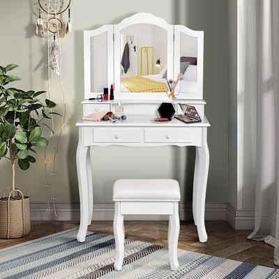 COSTWAY Schminktisch »Frisiertisch, Make-Up-Tisch, Kosmetiktisch«, mit 3-teiligem klappbarem Spiegel, mit 4 Schubladen