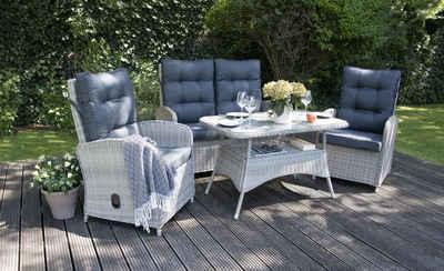 bellavista - Home&Garden® Loungeset »Lounge Monte Carlo II von bellavista - Home&Garden«, (8-tlg), Loungesessel und Sofa mit Relaxfunktion (stufenlos verstellbare Rückenlehne), Sessel: 64x72x102cm (BxTxH), 2-sitzer Sofa: 122x72x102cm (BxTxH), Tisch: 110x65x67cm (BxTxH)
