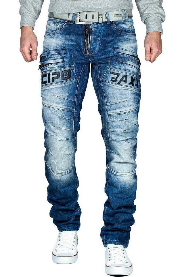 Cipo /& Baxx Herren Jeans CD 553 Hose Regular Fit Denim Schwarz