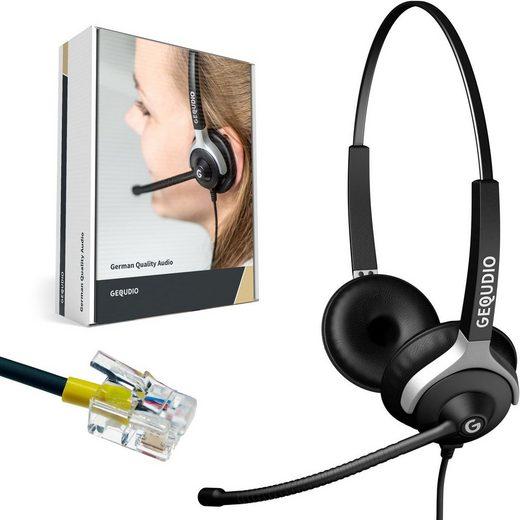 GEQUDIO Headset (Headset 2-Ohr für Mitel/Aastra/Poly/Gigaset-RJ mit Kabel)
