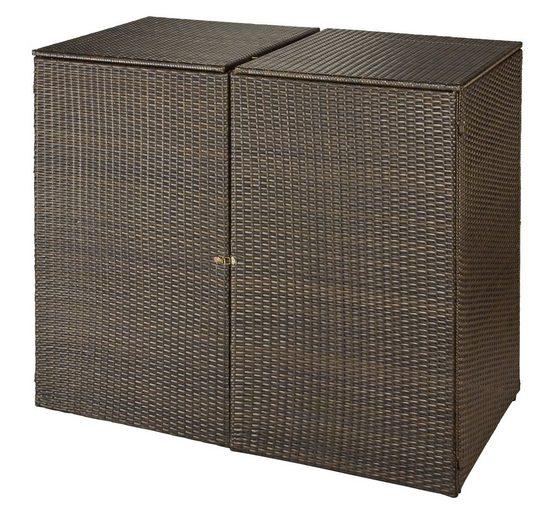 HANSE GARTENLAND Mülltonnenbox, für 2x120 l aus Polyrattan, BxTxH: 129x66x109 cm