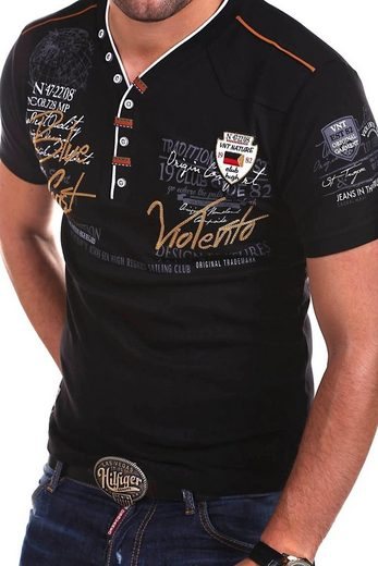 behype T-Shirt »GLOBAL« mit lässigem V-Ausschnitt