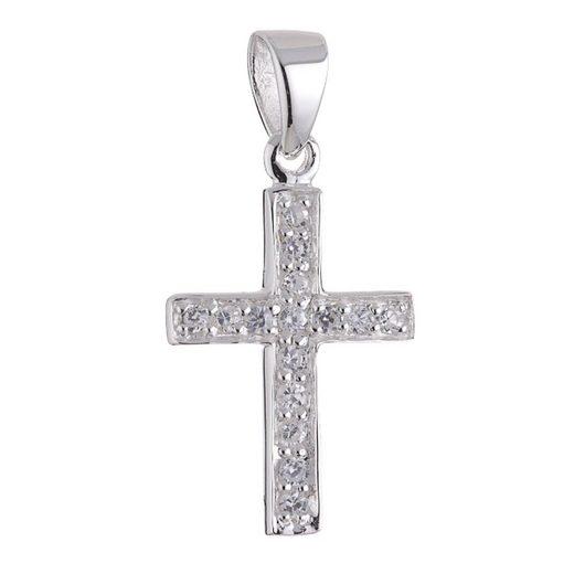 Vinani Kettenanhänger, Vinani Anhänger Kreuz schmal Zirkonia weiß Sterling Silber 925 AKS-EZ