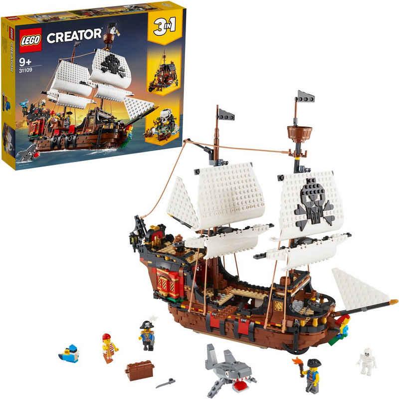 LEGO® Konstruktionsspielsteine »Piratenschiff (31109), LEGO® Creator 3in1«, (1264 St), Made in Europe