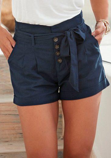LASCANA Shorts (mit Bindegürtel) in lässiger Leinen-Optik