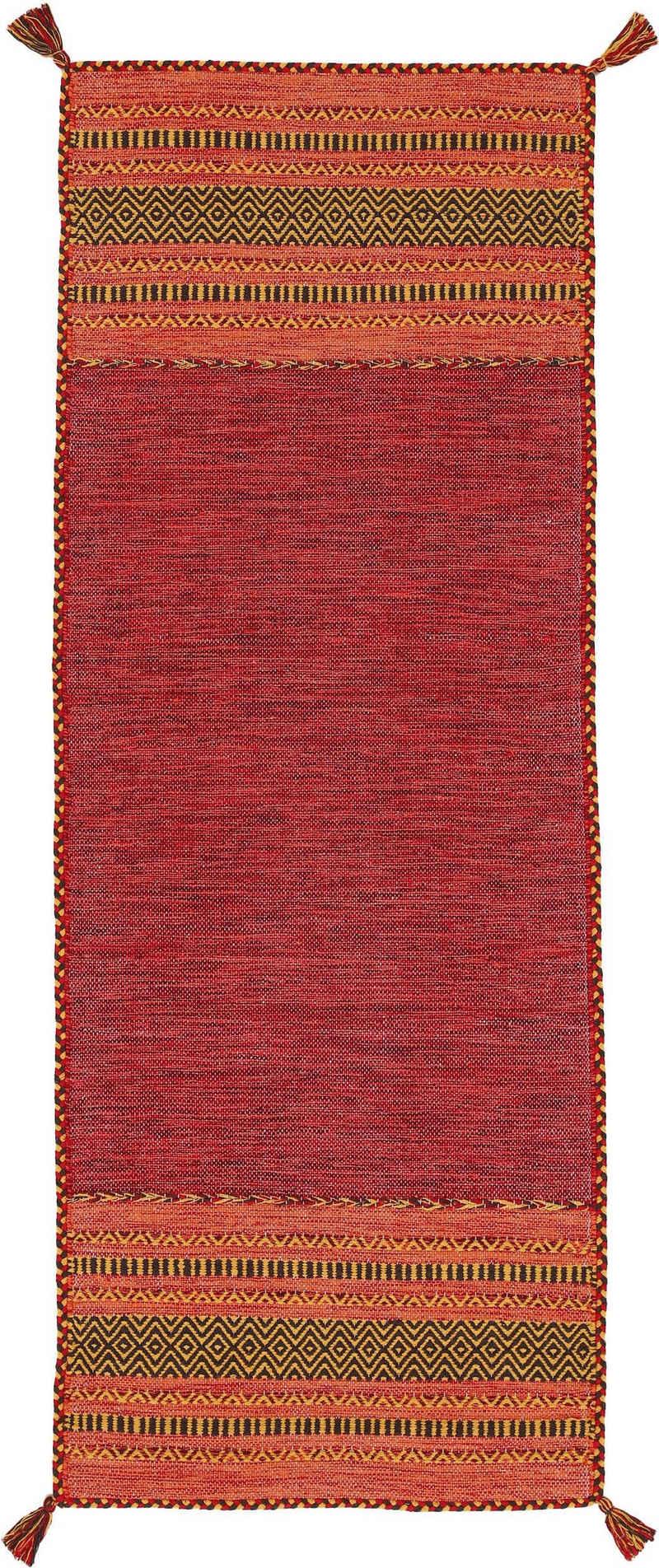 Läufer »Kelim Azizi«, carpetfine, rechteckig, Höhe 5 mm, Baumwolle, Wendeteppich mit Fransen, Wohnzimmer