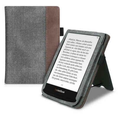 kwmobile E-Reader-Hülle, Flip Schutzhülle für Pocketbook Touch Lux 4/Lux 5/Touch HD 3/Color (2020) - Handschlaufe - Cover Wildleder-Optik