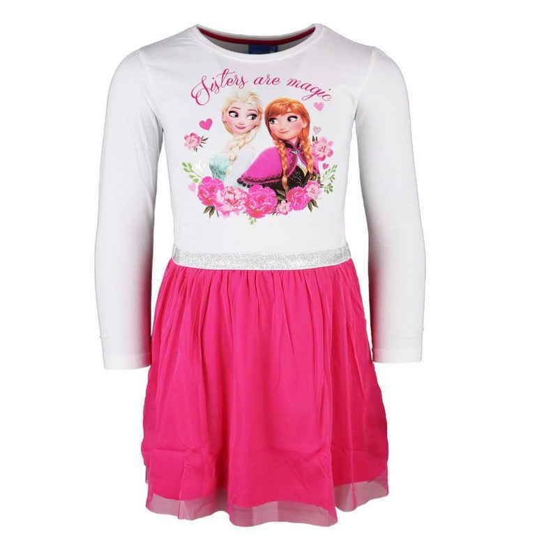 Disney Frozen Tüllkleid »Kinder langarm Kleid mit Anna und Elsa« Gr. 104 bis 134, in weiß pink