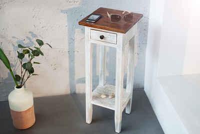 riess-ambiente Telefontisch »LA FLEUR 75cm weiß«, Massivholz · Beistelltisch · Landhaus · Nachttisch · Mahagoni