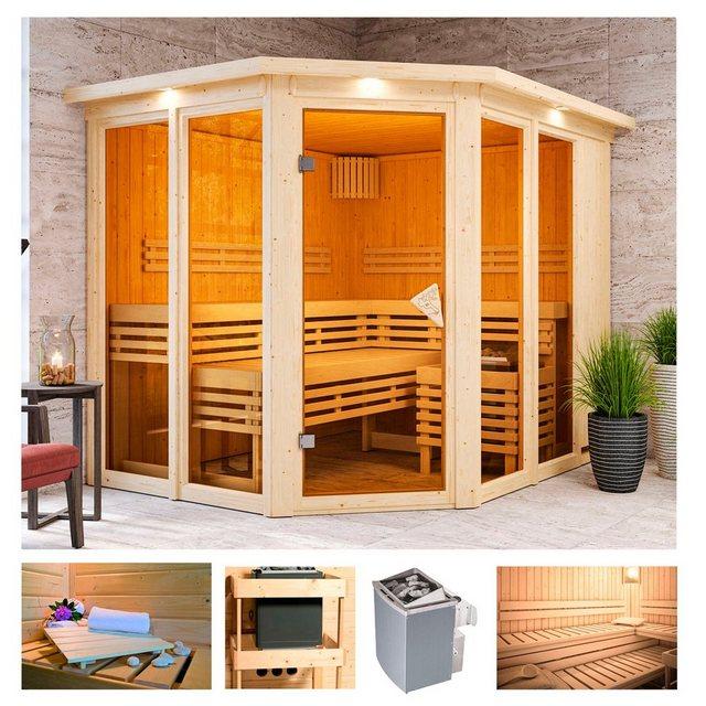 Saunen und Zubehör - KARIBU Sauna »Aaina 3«, 245x210x202 cm, 9 kW Ofen mit int. Steuerung, Dachkranz  - Onlineshop OTTO