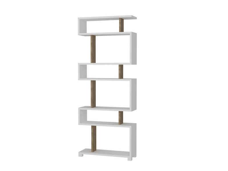 moebel17 Standregal »Bücherregal Blok Weiß Walnuss«, mit ausgefallenem Design