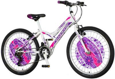 breluxx Mountainbike »24 Zoll Kinderfahrrad Mountainbike Hardtail Daisy Sport weiß lila - inkl. Schutzbleche«, 6 Gang, Kettenschaltung