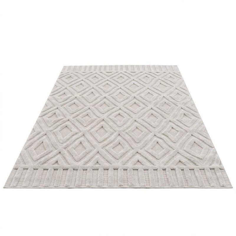 Teppich »SANTORINI 58377«, Carpet City, rechteckig, Höhe 5 mm, 3D-Design: Flor erzeugt ein Hoch-Tief-Effekt, In- und Outdoor geeignet