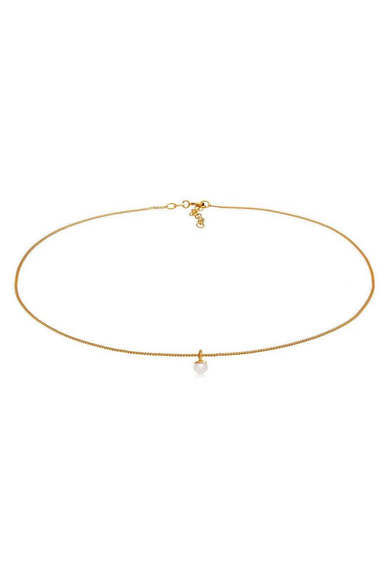 Elli Perlenkette »Choker Süßwasserperle Anhänger Klassik 925 Silber«
