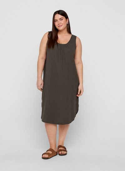 Zizzi Sommerkleid Große Größen Damen Ärmelloses Kleid aus Baumwolle mit Rundhals