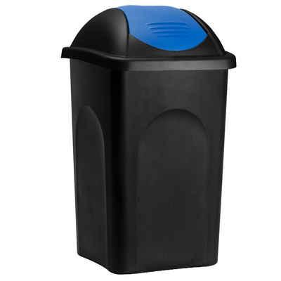 Deuba Mülleimer »Push Can«, 60 L Schwarz Blau Abfallbehälter 68x41x41cm Papierkorb Müllsystemtrennung Küche