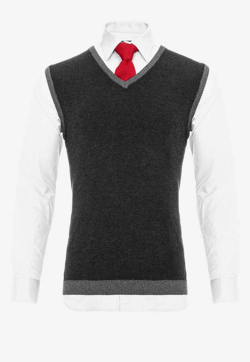 Cipo & Baxx Langarmhemd in klassischem Look mit Pullunder und Krawatte