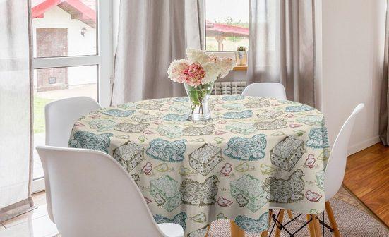 Abakuhaus Tischdecke »Kreis Tischdecke Abdeckung für Esszimmer Küche Dekoration«, Henne und Küken Tiermutter- Babys