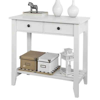 SoBuy Konsolentisch »FSB04«, Flurschrank Sideboard Beistelltisch Küchenschrank mit 2 Schubladen und 1 Ablage