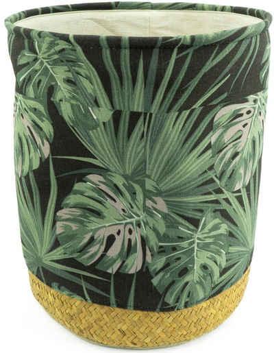 NOOR LIVING Wäschekorb (1 Stück), Geflecht Seegras mit Stoffeinlage und Jungle Design
