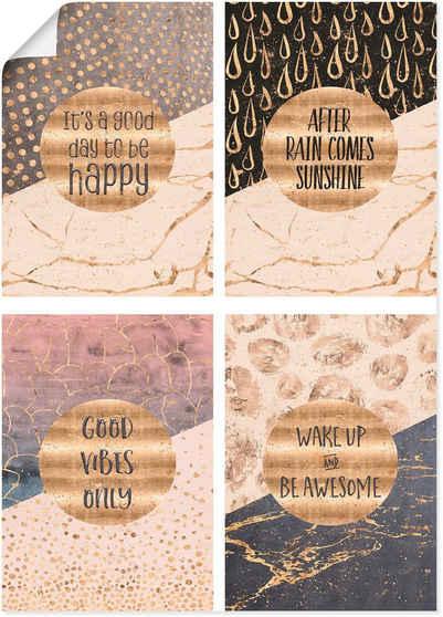 Artland Poster »4 Lebensweisheiten Gold«, Sprüche & Texte (4 Stück), Poster, Wandbild, Bild, Wandposter