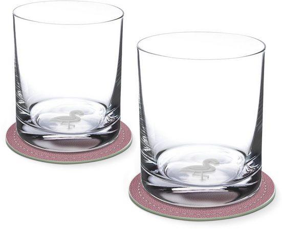 Contento Whiskyglas, Glas, Flamingo, 400 ml, 2 Gläser, 2 Untersetzer