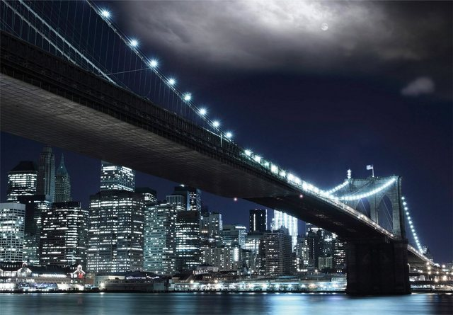 Papermoon Brooklyn Bridge by Night Fototapete