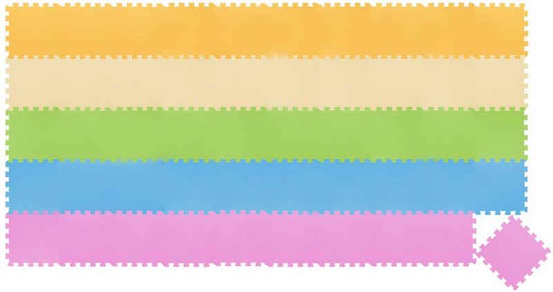 LittleTom Puzzlematte »50 Teile Baby Kinder Puzzlematte ab Null - 30x30«, Puzzleteile, Pink Gelb Beige Blau Grün
