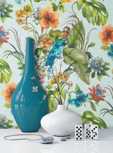 Newroom Papiertapete, Blumentapete Grün Bunt Wallpaper Floral Blumen Tapete Pflanzen Palmenblätter Wohnzimmer Schlafzimmer Büro Flur