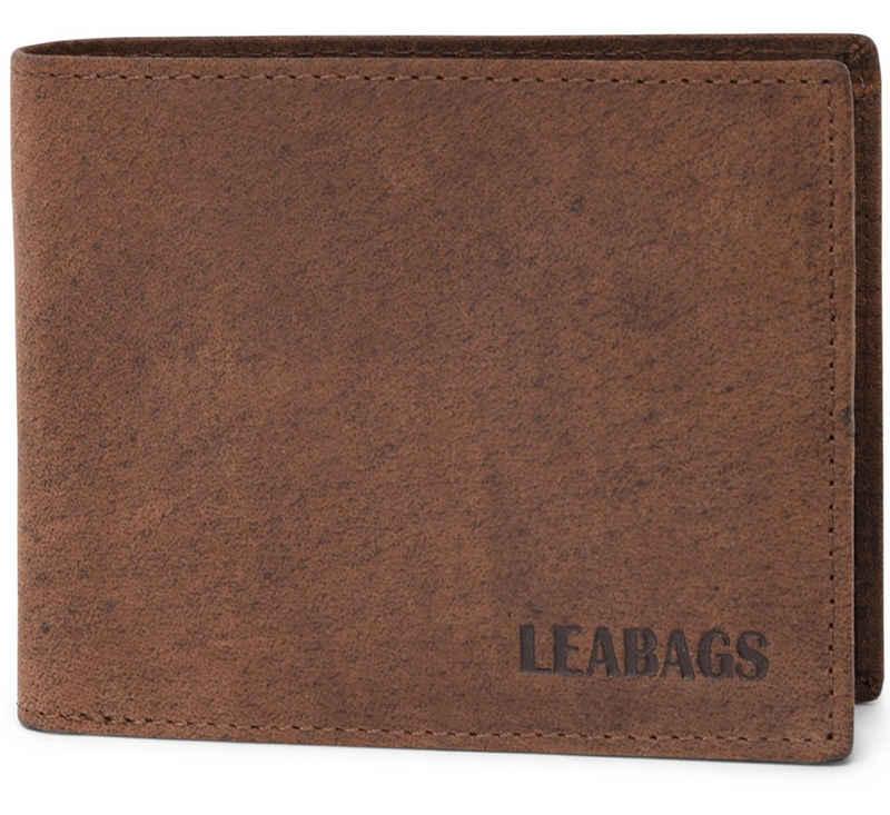 LEABAGS Geldbörse »Austin«, Geldbeutel aus echtem Büffel-Leder im Vintage Look - Muskat