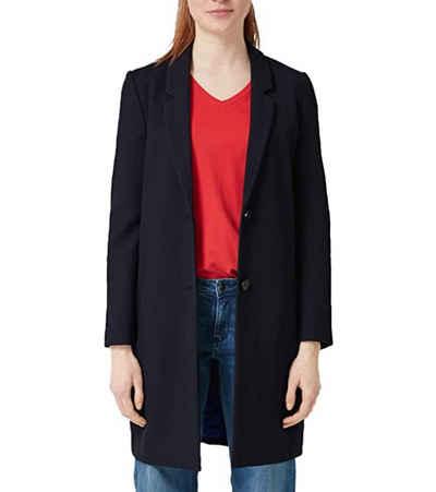 s.Oliver Kurzblazer »s.Oliver Long-Blazer eleganter Mantel für Damen mit Revers Designer-Jacke Dunkelblau«