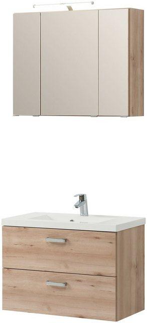 Badezimmer Sets - HELD MÖBEL Badmöbel Set »Montreal«, Breite 80 cm, 3 tlg.  - Onlineshop OTTO