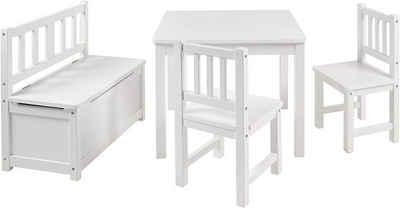 BOMI Kindersitzgruppe »Holzsitzgruppe Anna«, (4-tlg), Kindertischgruppe aus Holz (4tlg. Tisch, Kinderbank, 2 x Stühle)