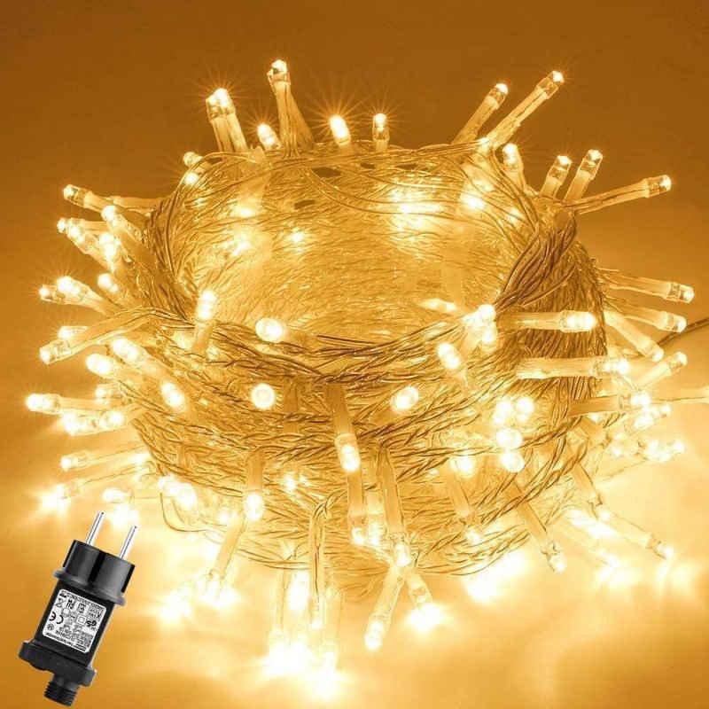 GlobaLink LED-Lichterkette »LED Lichterkette Weihnachtsbeleuchtung«, 100-flammig, GlobaLink LED Lichterkette Außen, Lichterkette Weihnachtsbeleuchtung IP44 mit Stecker 8 Modi & Memory-Funktion für innen und außen Weihnachten Hochzeit Party Garten Dekoration -Warmweiß