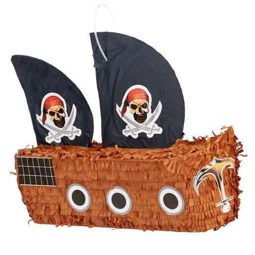 relaxdays Papierdekoration »Pinata Piratenschiff«