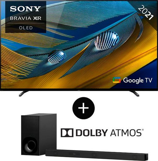 Sony XR-65A80J + Soundbar HT-ZF9 OLED-Fernseher (164 cm/65 Zoll, 4K Ultra HD, Google TV)