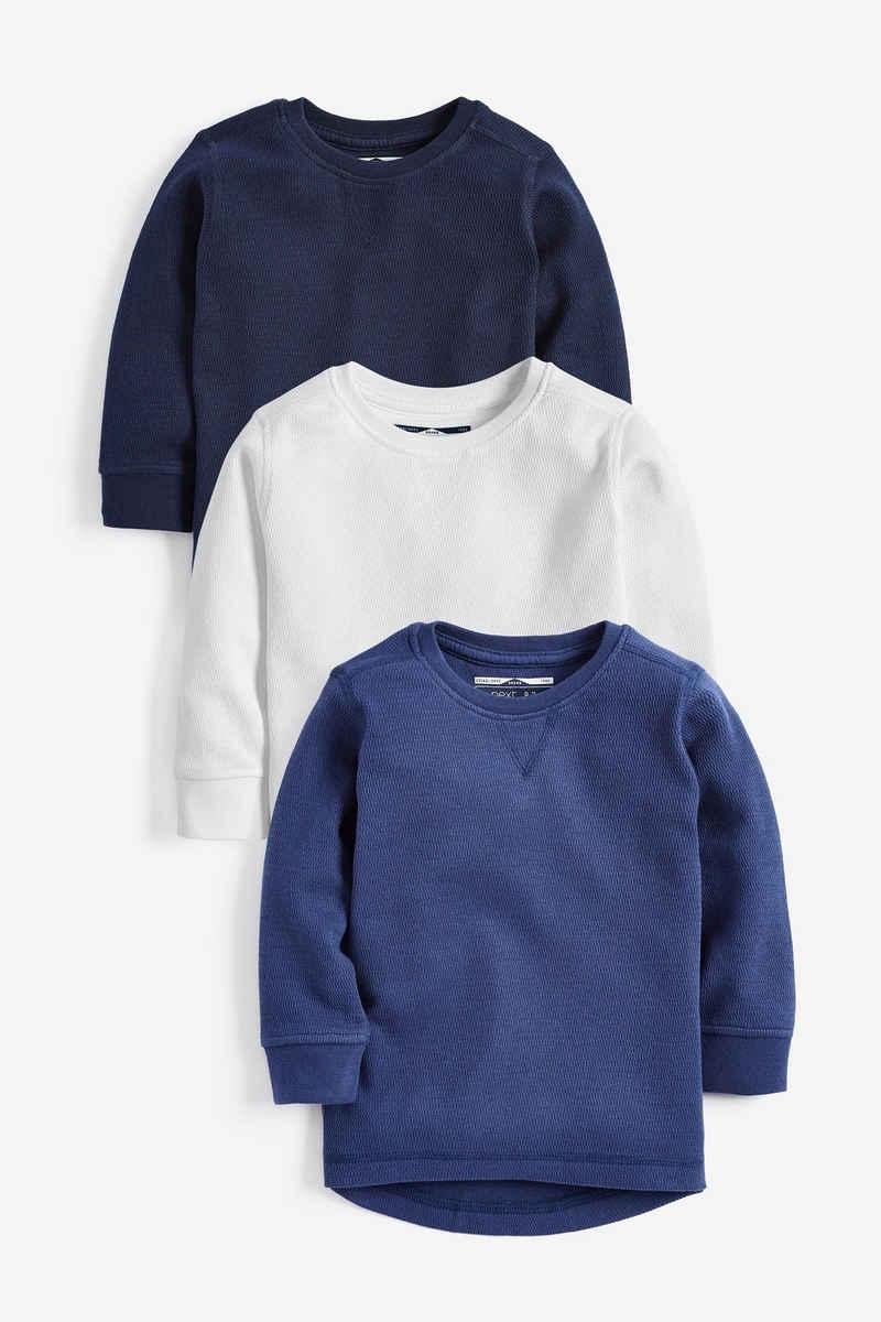 Next Langarmshirt »Langärmelige T-Shirts mit Struktur im 3er-Pack« (3-tlg)
