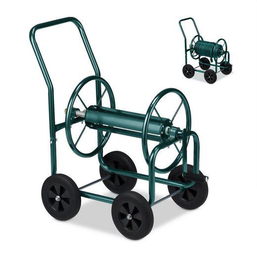 relaxdays »Schlauchwagen Metall grün« Schlauchhalterung