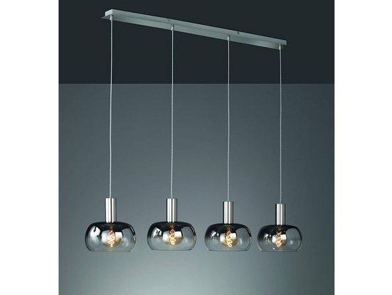 FISCHER & HONSEL LED Pendelleuchte, mehrflammig Rauch-Glas Lampen-Schirme rund 4er Balken, moderne Vintage Design Esstisch-Lampe dimmbar, Kugel-Pendel für über Esstisch in Küche und Esszimmer