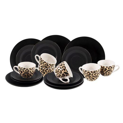 Neuetischkultur Kaffeeservice »Kaffeeservice 18-teilig Black Leopard« (18-tlg), Keramik